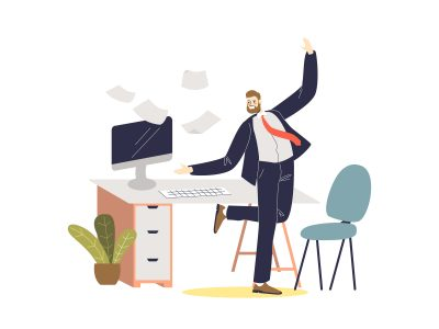 Cheerful businessman smiling boss dancing on workplace after successful agreement. Full length cartoon manager in suit celebrate victory. Flat vector illustration