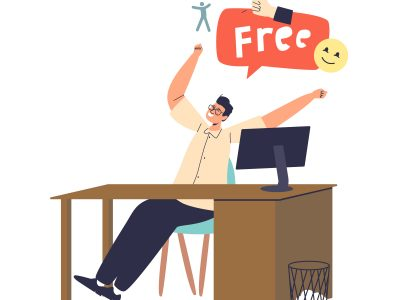 Happy male office worker cheering at workplace. Friday and weekend concept. Excited manager cheerful and free for rest at end of week. Cartoon flat vector illustration