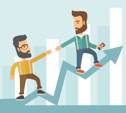 Two hipster Caucasian businessmen with beard standing working together to reach their quota in sales with the arrow up showing that they are successful. Teamwork concept. A contemporary style with pastel palette soft blue tinted background. Vector flat design illustration. Square layout.